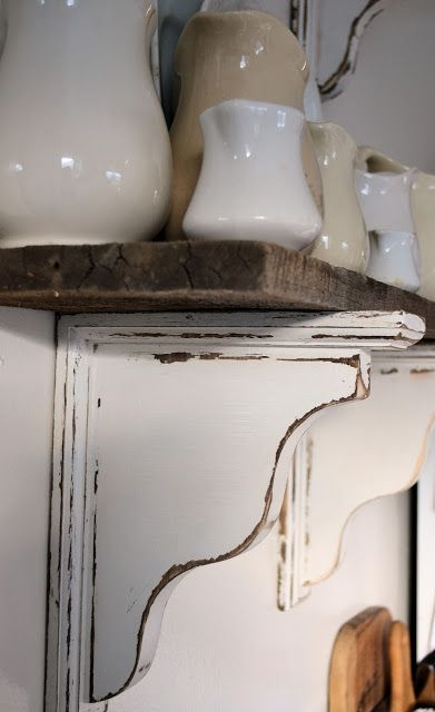 Barn Wood Shelves - Stained, painted and distressed corbels! LOVE!