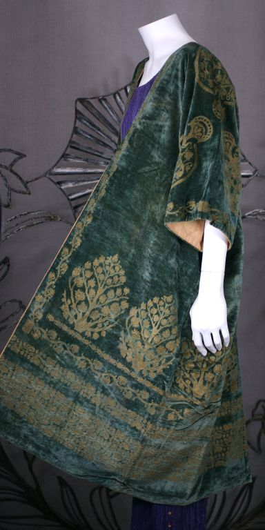 Mariano Fortuny: Green Stencilled Velvet Long Coat