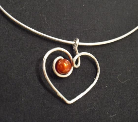 wire heart with bead  #handmade #jewelry #pendant...