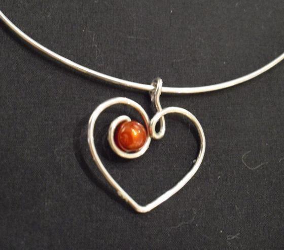 wire heart with bead  #handmade #jewelry #pendant...