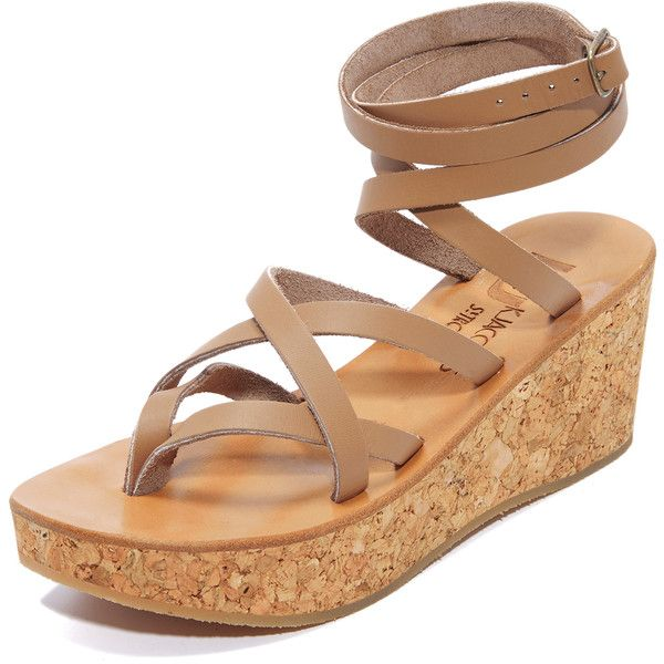 K. Jacques Tautavel Wedge Sandals (442 AUD) ❤ liked on Polyvore featuring shoes, sandals, pul taupe, wedge sandals, leather wedge shoes, wrap sandals, k jacques sandals and leather wedge sandals