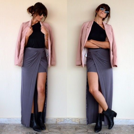 Over on thevirgostyle.blogspot.gr #thevirgostyle #blog #greece #greek #blogger #love #like #ootd #style #fashion #outfit #lookbook #jacket #pink #maxi #skirt #black #booties #look