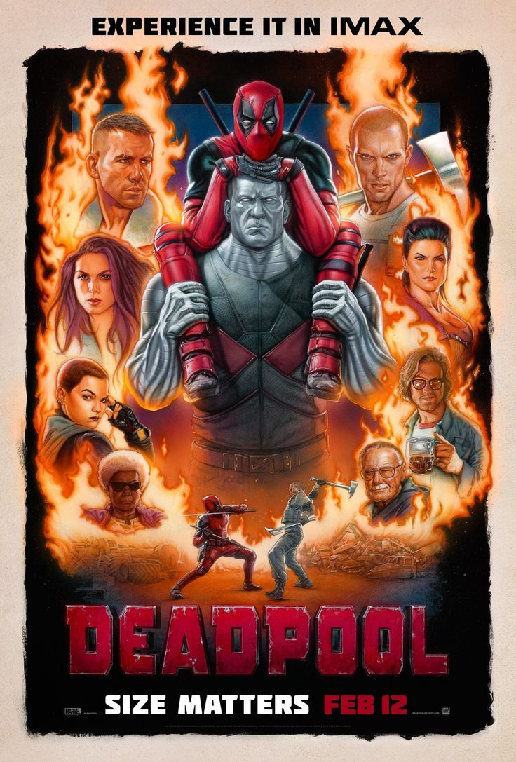 Deadpool (2016 dir. by Tim Miller, rated R). A former Special Forces operative turned mercenary is subjected to a rogue experiment that leaves him with accelerated healing powers, adopting the alter ego Deadpool. Stars: Ryan Reynolds, Morena Baccarin, Ed Skrein, TJ Miller, Brianna Hildebrand