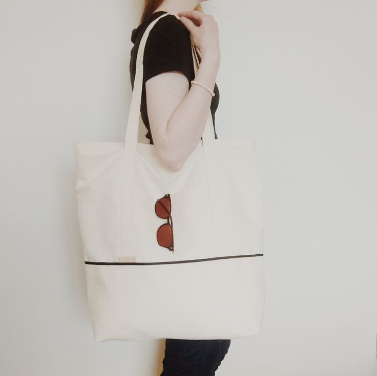 The Everything Tote // 100% cotton extra large oversized twill tote bag carry-all  lined outer pockets by WhitebirchHandcraft on Etsy