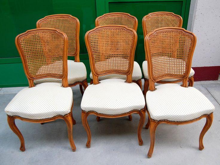 6 sedie in stile Luigi XV seduta imbottita schienale in paglia di Vienna