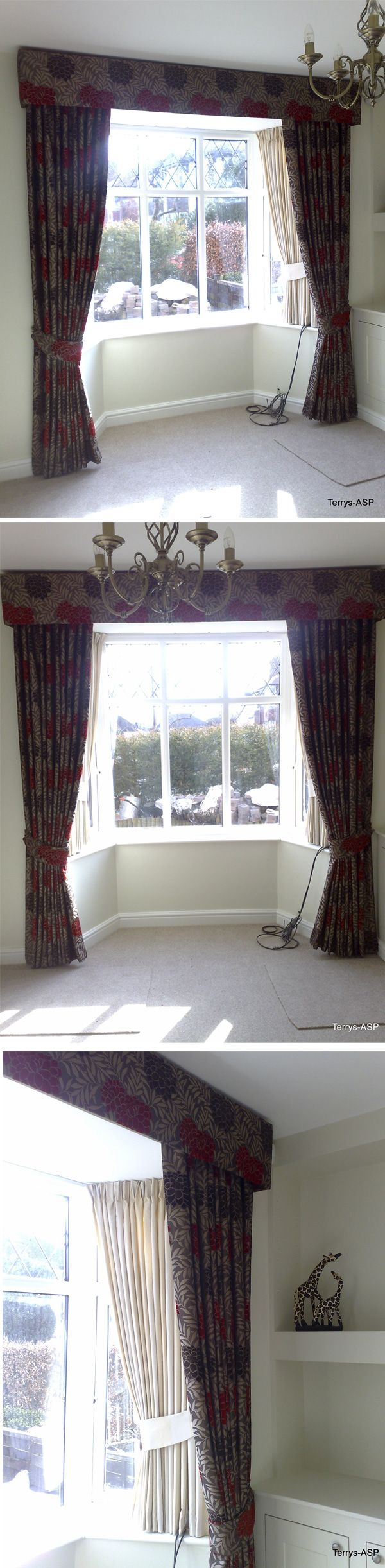 Bay Window Treatment - Long dress curtainsd beneath an upholstered pelmet dress the outside of the bay and short drawing curtains provide privacy and function inside the bay. Front fabric is Malham Choc/Red www.terrysfabrics...