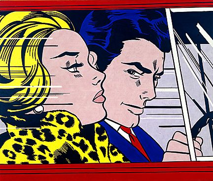 In the car - Roy Lichtenstein. 1963.   Pop Art. Magna on canvas.  172.7 x 203.2 cm. Scottish National Gallery of Modern Art. Edinburgh. Scotland. UK.