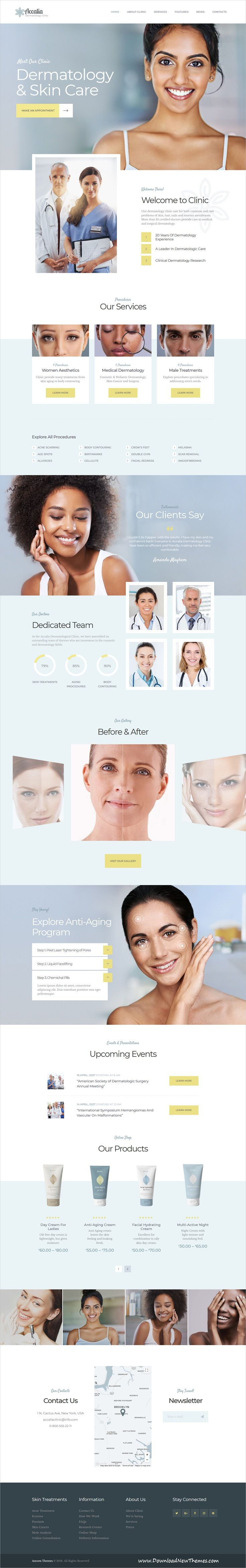 Accalia is clean and modern design 4in1 responsive #WordPress theme for #dermatology clinic, cosmetology, hairstyle, plastic or #cosmeticsurgery services website to live preview & download click on Visit