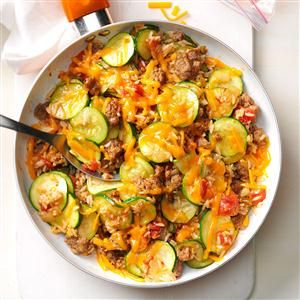 **updated made 8/6/15 & ohh my yummy used mozzarella & grated Parmesan it's what I had and yummy Zucchini & Sausage Stovetop Casserole Recipe