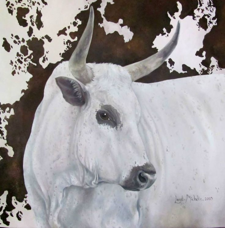 2. Royal Cattle (GREAT), [ Item 'B' of Royal Cattle Collection] oil on canvas by Landi-Michelle van den Berg