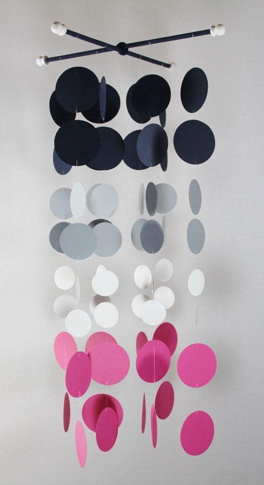 Handmade Nursery Mobile...Navy Girl pink nursery by katemaedesigns, $50.00