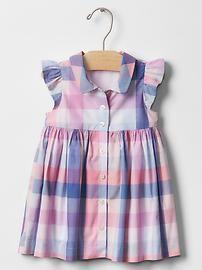 Plaid flutter shirt dress