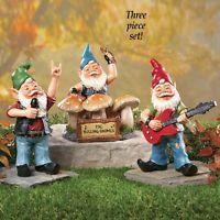 Rock Band Garden Gnome Set Garden Statue 3 Pc Yard Gnomes Decor NEW