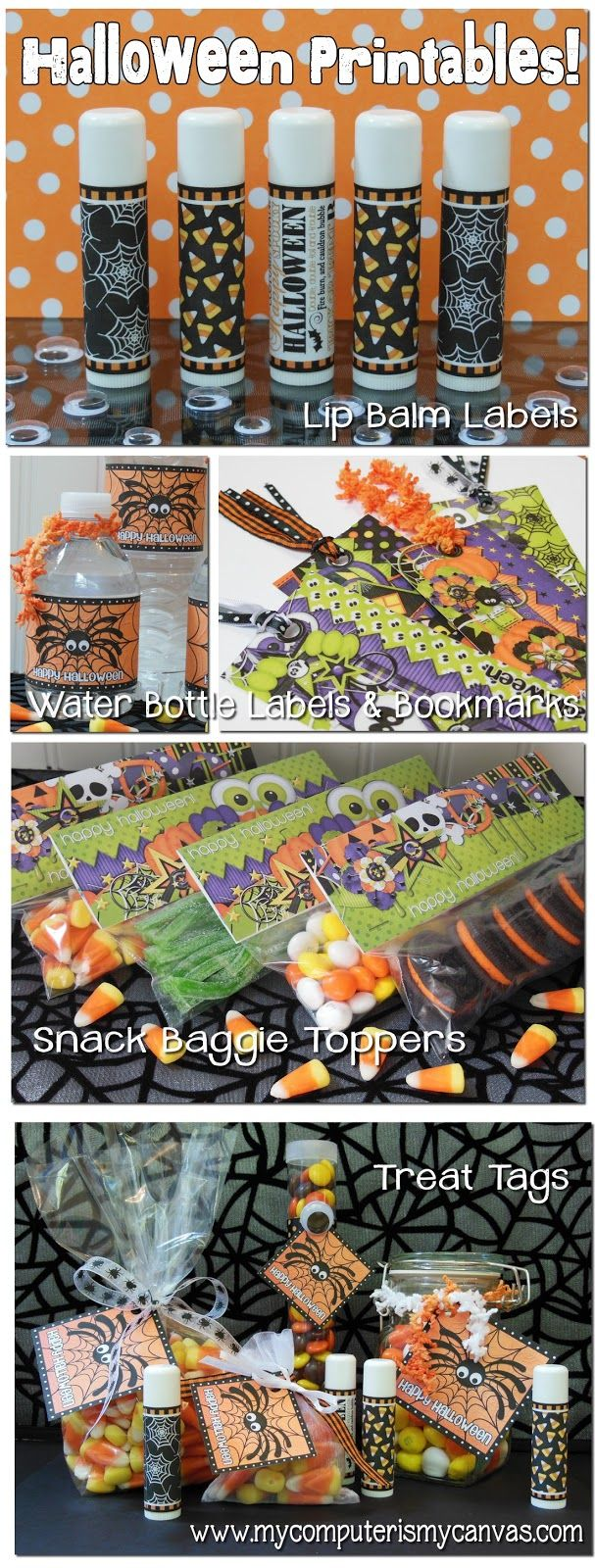 Lots of Halloween Printables... lip balm labels, water bottle labels, bookmarks, snack baggie toppers and treat tags!