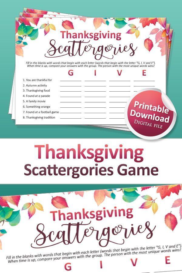 Thanksgiving Games Printable Scattergories Game For Etsy In 2020 Friendsgiving Fun Thanksgiving Games Printable Friendsgiving
