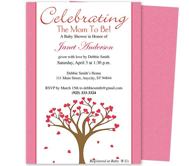 Baby Shower Invitations : Celebrate Tree Of Hearts Shower Invitation  Template