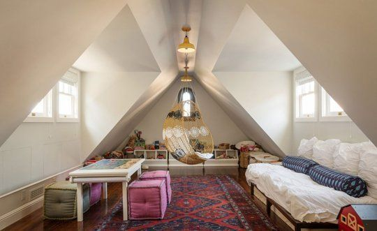 Rooms that Make the Most of a Sloped Ceiling, love the hanging chair in the centre of the room!