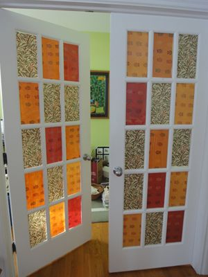 Papering windows - this may be a good temporary solution to the french doors that lead outside?: Doors Curtains, Crafts Rooms, Front Rooms, French Doors, Window Panels, Front Doors, Curtains Ideas, Cool Ideas, Wraps Paper