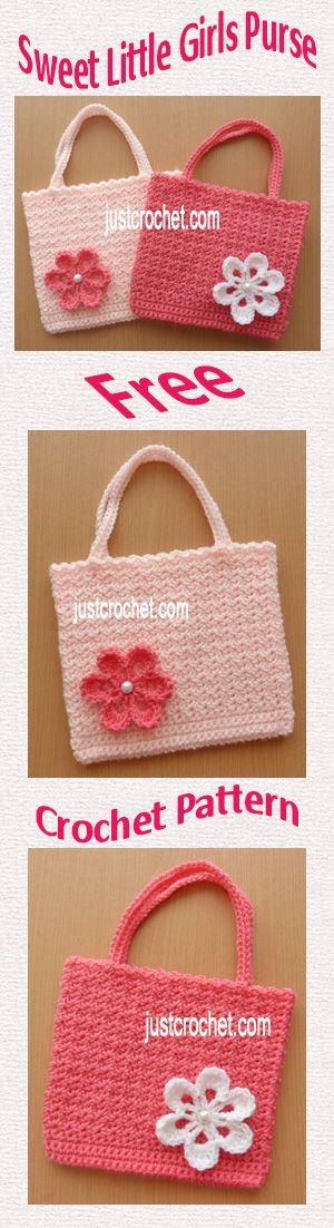 Free crochet pattern for sweet little girls purse. #crochet