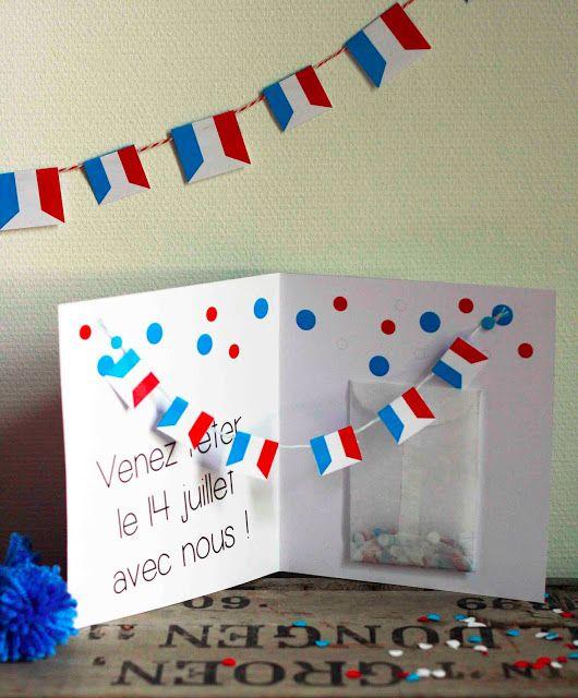 mon ampersand: La carte d'invitation pour fêter le 14 juillet (confettis inclus)