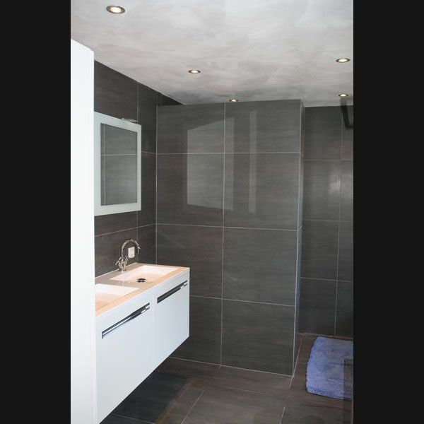 Design badkamer grijze vloertegels 60x60 op de wand en rvb kranen badkamer pinterest wands - Betegelde badkamer ontwerp ...