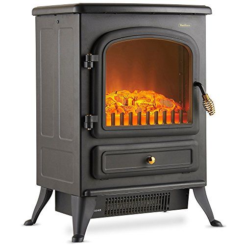 Electric Stove Heater Fireplace LED Flame Effect Fire Log Burner Black 1850W NEW
