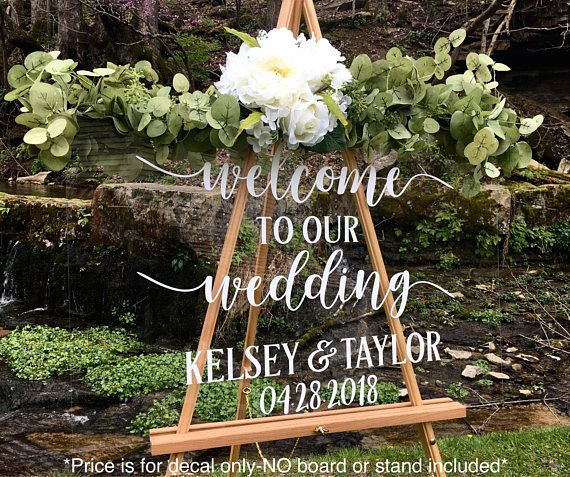 Wreath Wedding Welcome  DECAL or STENCIL for DIY Wedding Signs Wedding Date For Glass Wood Chalkboard Metal Sign Making WRT0101/_12