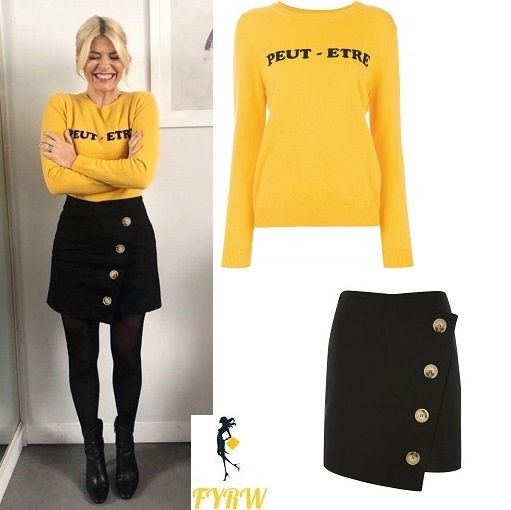 Holly Willoughby This Morning outfit yellow Peut Etre jumper black button skirt black ankle boots March 2018