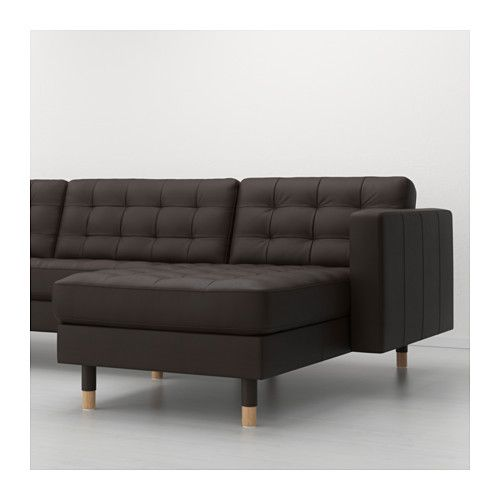 LANDSKRONA Sofa and chaise lounge - Grann/Bomstad dark brown, wood - IKEA