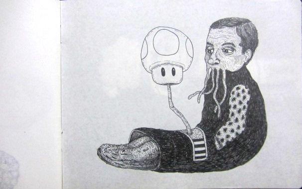 Artista: Ricardo Muñoz Izquierdo, Libreta Dibujos 4, dibujos en hoja de libreta, 10x16 cm, + PA.  Artist: Ricardo Muñoz Izquierdo, Book Design 4 , drawing on notebook sheet , 10x16 cm, + PA.
