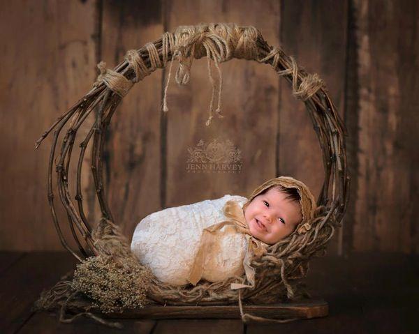 Изображение Woodsy Чудес, деревенский, Виноградная лоза Free Standing Гамак новорожденный ребенок Prop