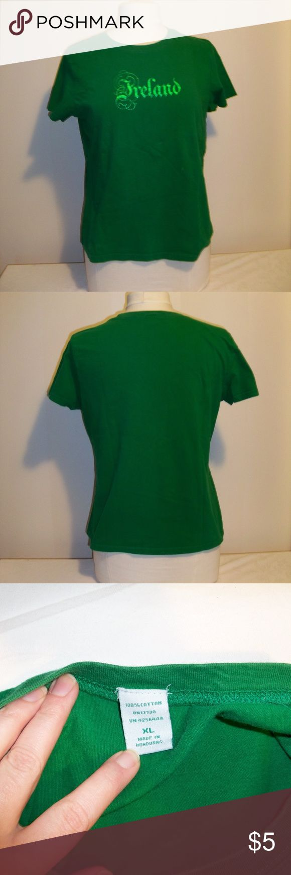 """Green """"Ireland"""" Women's Tee Green junior tee with metallic green """"Ireland"""" graphic.  Purchased from a St. Patrick's display at Target. I liked that it just was pro-Ireland and not pro-alcoholism.  Bundle with the Unisex """"Guinness"""" tee for a his-n-hers or hers-n-hers deal! Target Tops Tees - Short Sleeve"""