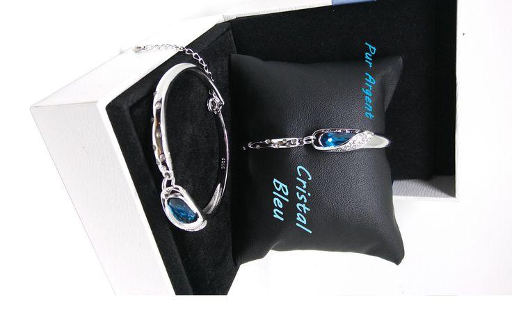 bracelet en argent pur,925,cristal autrichien couleur bleu de mer,bracelet rigide,zirconia