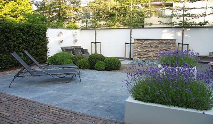 Moderne tuin sfeer impressie met lavendel tuinaanleg for Tuin inspiratie modern