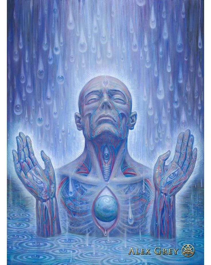 """""""Baptism in the Ocean of Awareness."""" painting by, Alex Grey, 2017."""