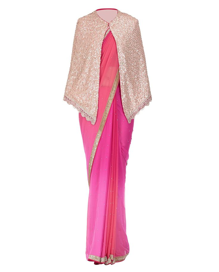 Pink Shaded Georgette Saree with Cape