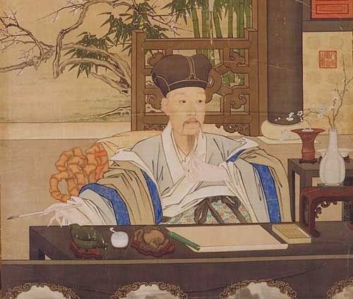 Again by Castiglione, the Qianlong emperor is painted as a scholar