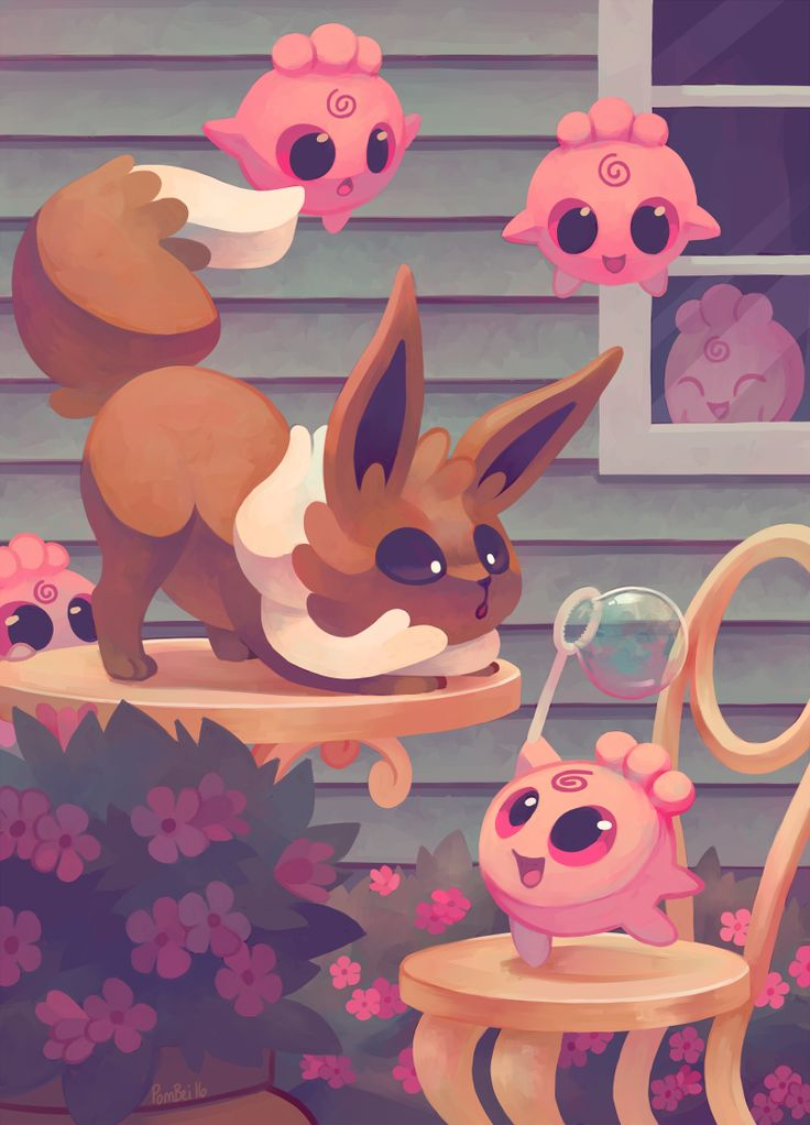 """pombei:  Eevee House - Eevee This is the first in a series of pieces I plan to make that I'm calling """"Eevee House""""! I want to make one for each of the Eeveelutions! Available on Society6!   just beautiful!"""