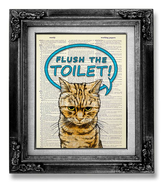 New Home Gift HOUSEWARMING Gift for Man, Kid Gift Idea Home Office Decor, DORM Wall Decor, Funny GIFT idea Bathroom Poster, Flush the Toilet on Etsy, $10.00