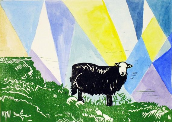 Sheep with blue triangles linocut print  by LauraLongPrintmaker