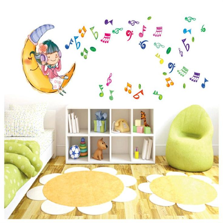 colorful cute girl on the moon music home decal wall sticker girls room bedroom decoration mural art for nursery party decals