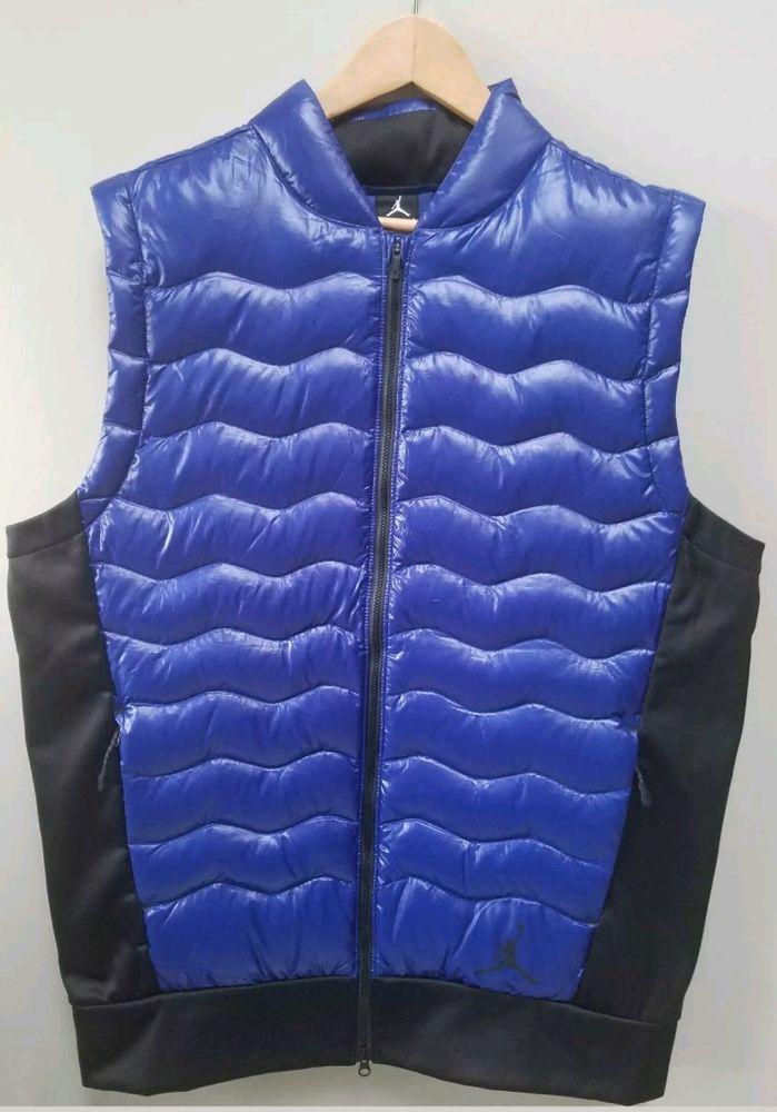Nike Jordan Men's Down Vest Top Jacket Athletic Size Large Blue $175.00 NEW #Nike #Vest