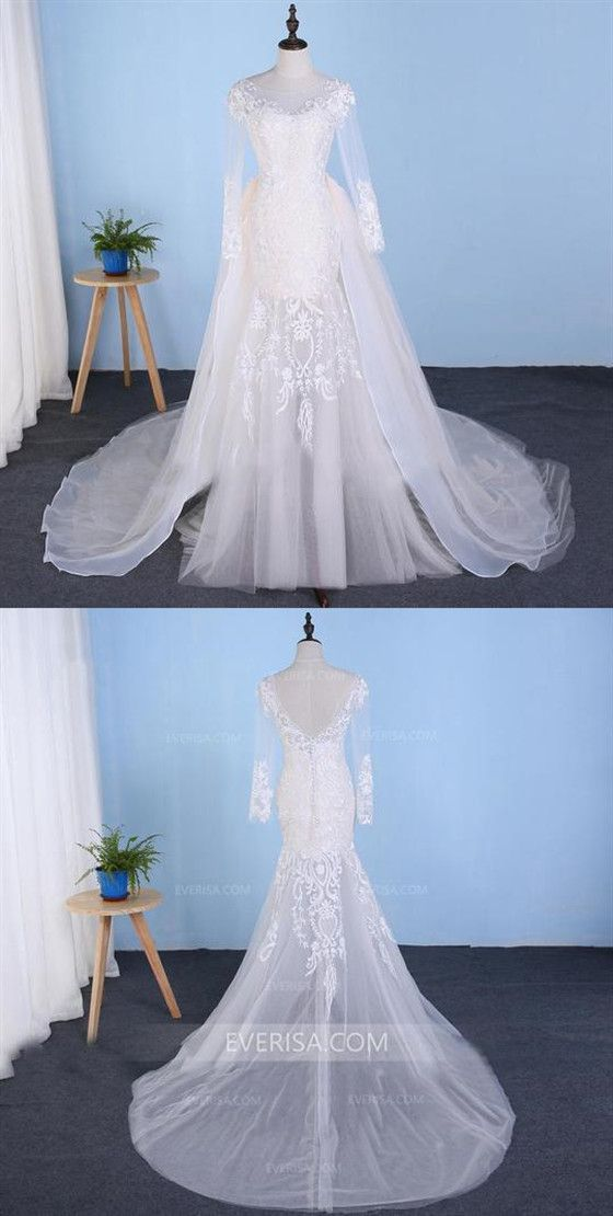 61e6f3d8af5 Long Sleeve Detachable Skirt Lace Bridal Gown Mermaid Wedding Dresses   wedding  Long  gown
