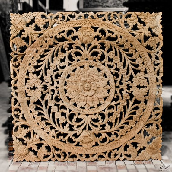 """Wood Wall Art Panel. Natural Wood Carved Wall Hanging, Feng shui Wall Decor. Adding Luxurious & Unique to your Home.(24""""x24"""" Natural color)"""