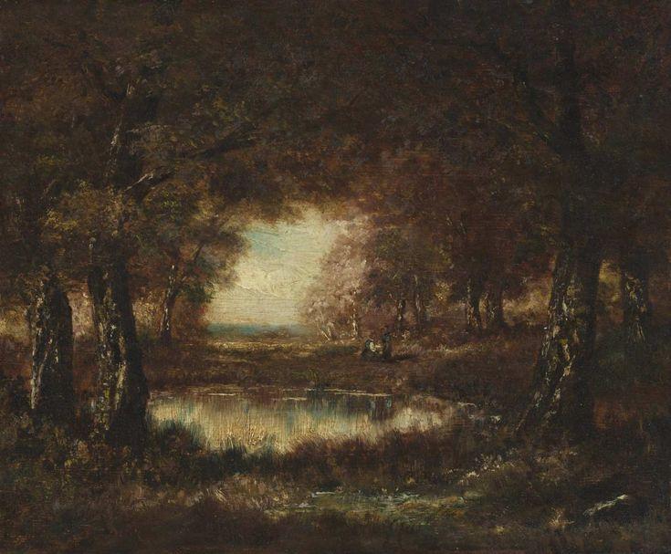 Virgilio Narcisso Diaz De La Peña - FALZUM, Podzimní krajina s tůní, [4. čtvrtina 19. století / 1. třetina 20. století]