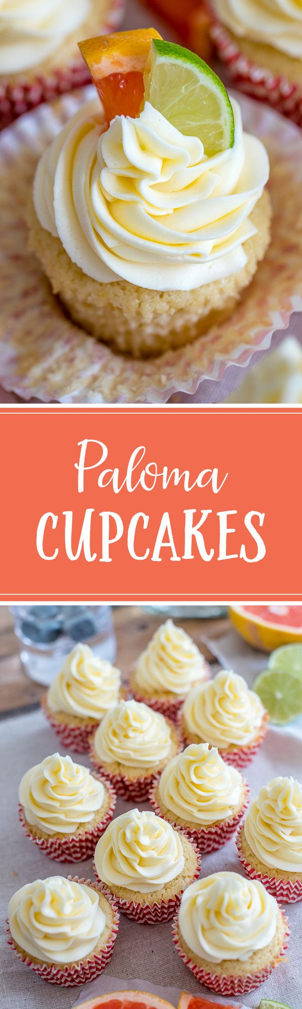 A citrus-filled, boozy cupcake made with tequila, lime, and grapefruit, inspired by a crisp Mexican Paloma cocktail. A show-stopping dessert for Cinco de Mayo or any summer party! #paloma #cincodemayo #boozycupcakes via @nourishandfete