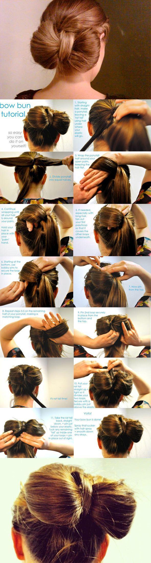 bow hairHairbows, Hair Tutorials, Hairstyles, Bows Buns, Bow Buns, Beautiful, Buns Tutorials, Hair Bows, Hair Style