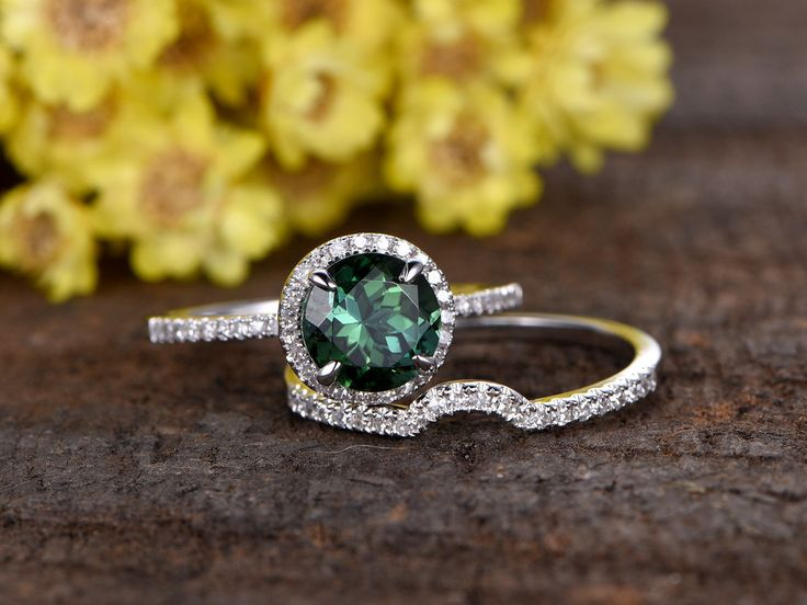 Cute mm round cut natural green tourmaline engagement ring set k white gold diamond wedding band