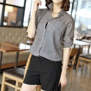 Republic of Korea reigning Women's Clothing Store [CANMART] Basic A Collared Shirts / Size : FREE / Price : 28.83 USD #korea #fashion #style #fashionshop #apperal #koreashop #missy #canmart #top #blouse #basic #dailylook