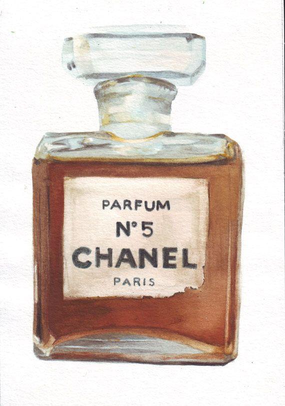 Original watercolor painting Vintage Chanel No 5 Bottle ...
